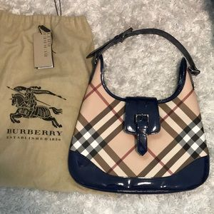 Burberry Hobo with Blue Patent Accents